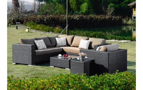 Moonlight Living loungegruppe i sort polyrattan
