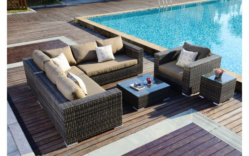 Moonlight Living loungegruppe i gråmix polyrattan